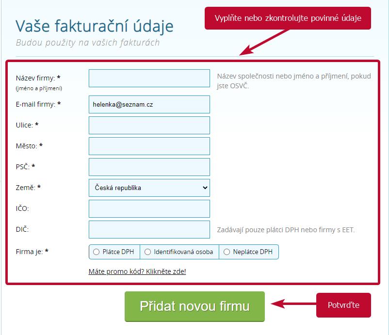 Vyfakturuj.cz - rucne zadane udaje