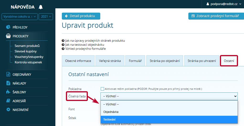 Výběr číselné řady u produktu
