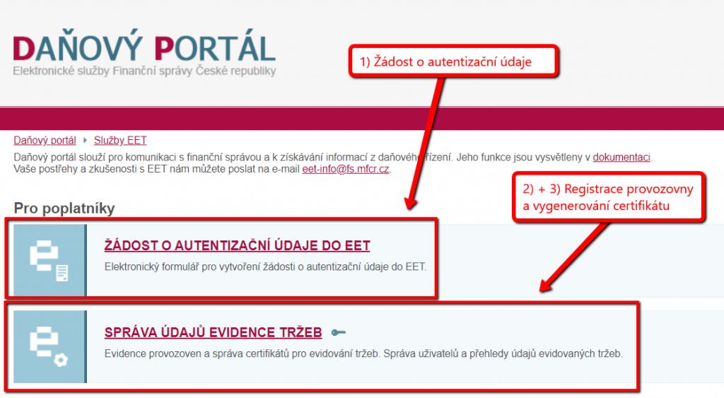daňový portál - správa údajů k EET