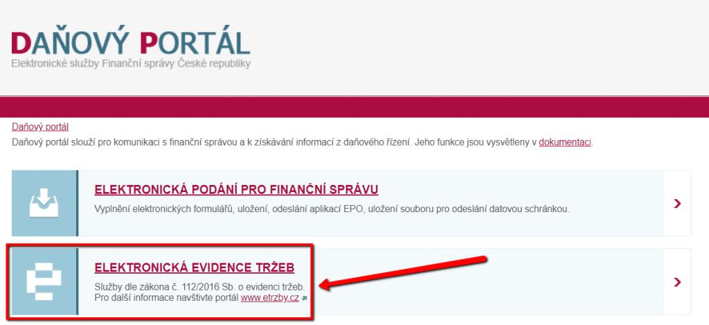 úvodní stránka daňového portálu