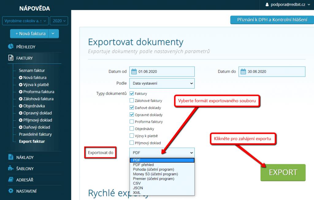 Výběr formátu exportovaného souboru