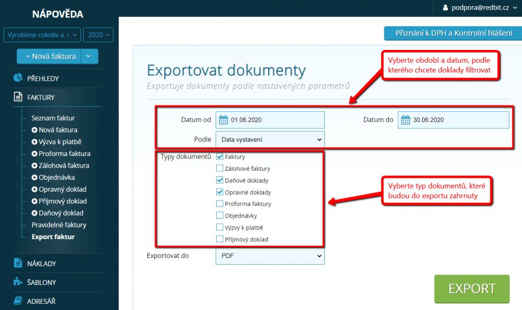 Nastavení parametrů pro export
