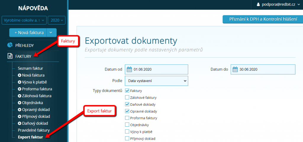 Export faktur v systému Vyfakturuj.cz a SimpleShop