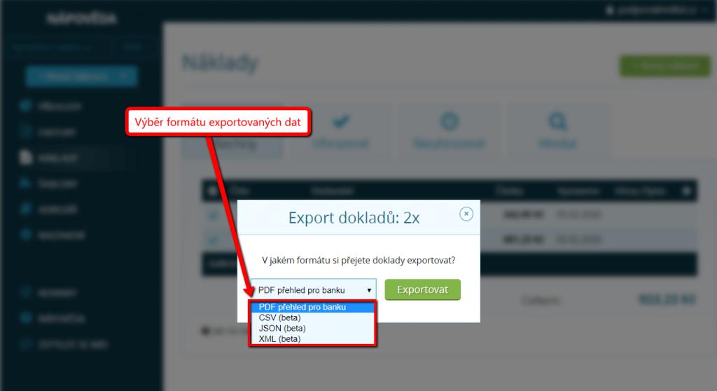 Výběr formátu pro export nákladů