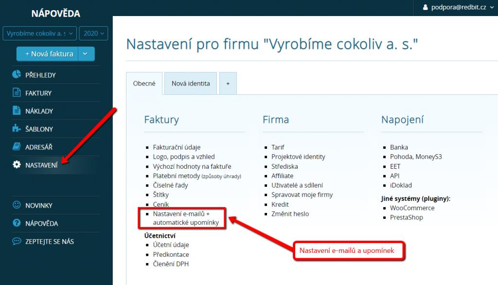 Nastavení e-mailů a upomínek v systémech Vyfakturuj.cz a SimpleShop