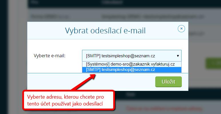 Výběr adresy pro odesílání e-mailů