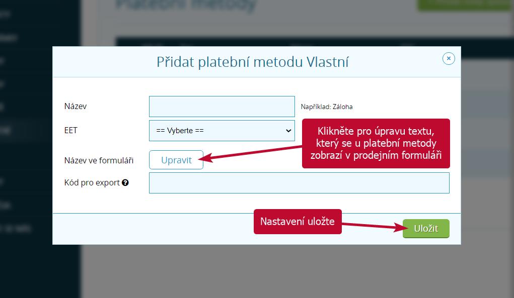 Tlačítko pro změnu textu u platební metody
