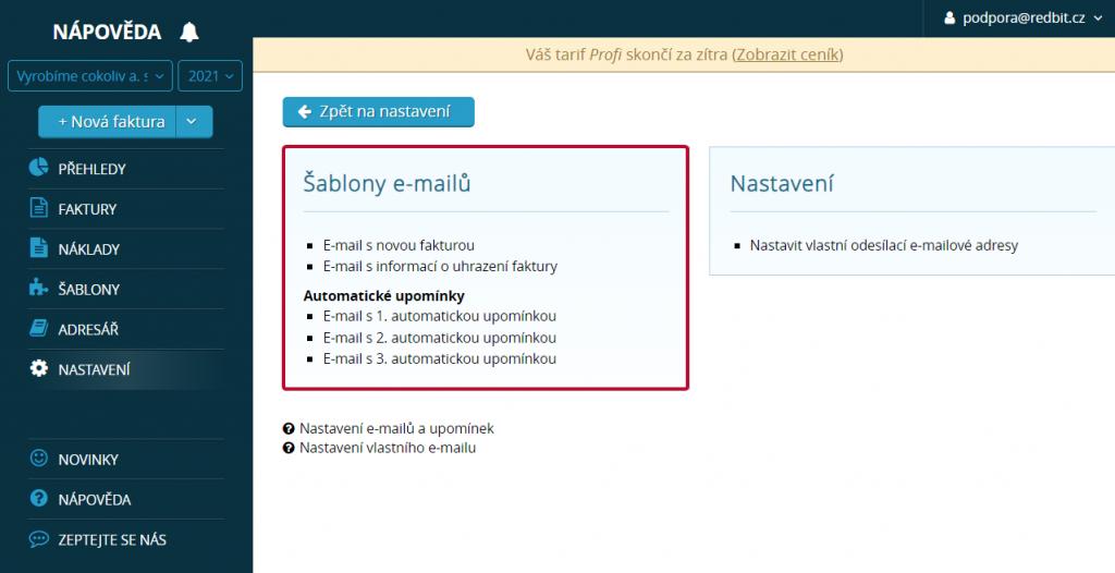 Šablony e-mailů ve Vyfakturuj.cz