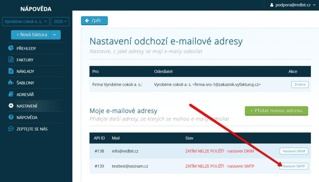 Klikněte na tlačítko nastavit SMTP