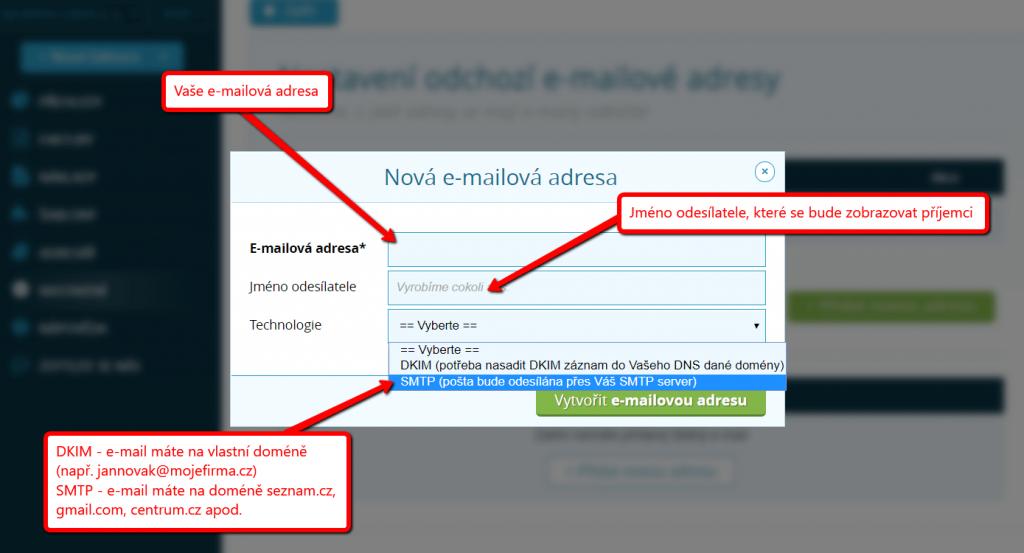 Zadání údajů o vlastní e-mailové adrese