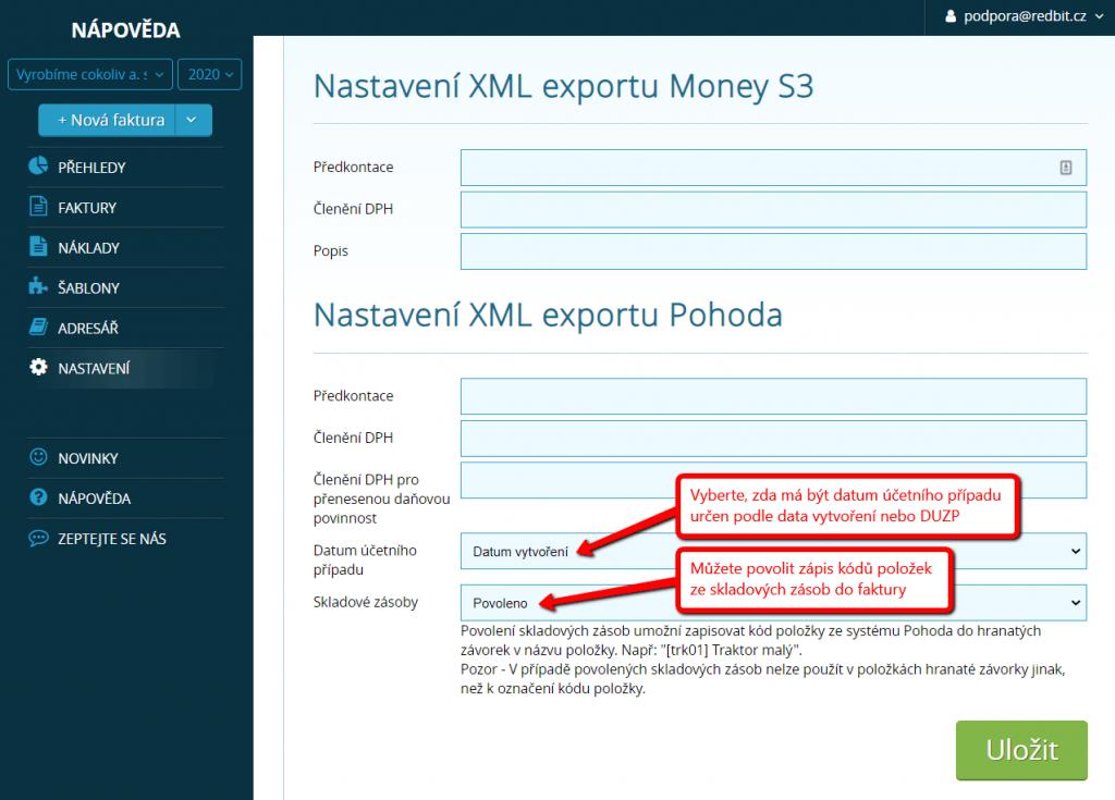 Podrobné nastavení XML exportu do Pohody