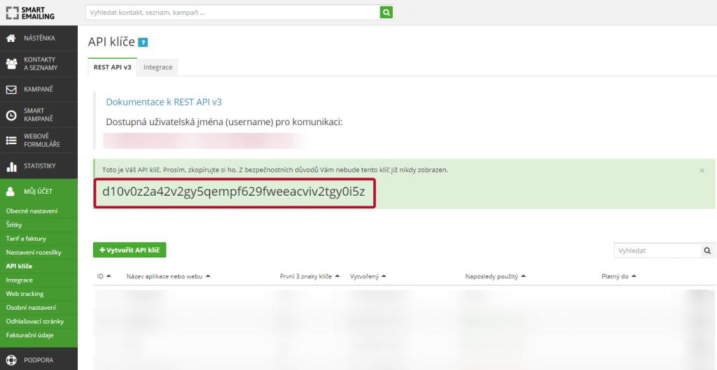 SE API klíč