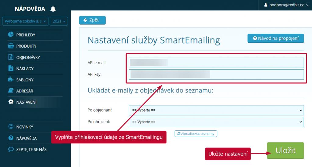Propojení se SmartEmailingem