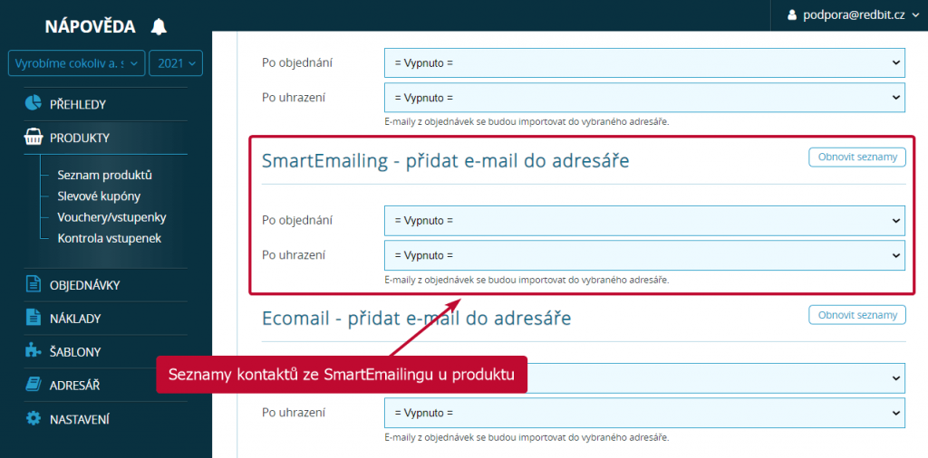 Seznamy kontaktů ze SmartEmailingu u produktu
