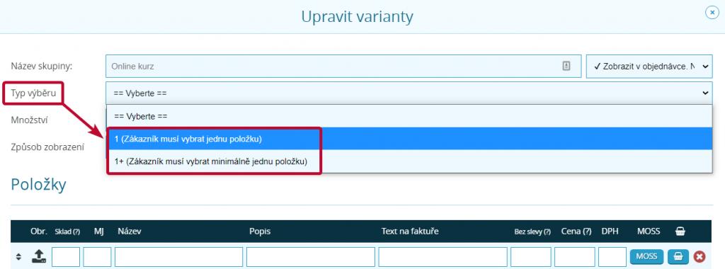 Typ výběru u variant produktu