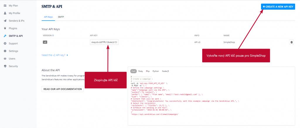 SendinBlue API klíč
