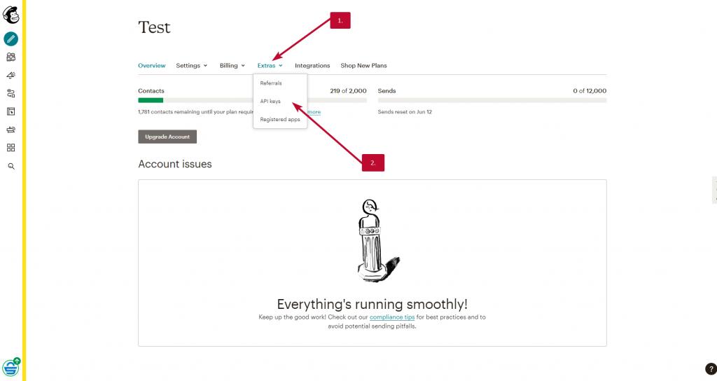 MailChimp API klic