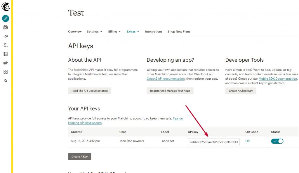 API klic vytvoren