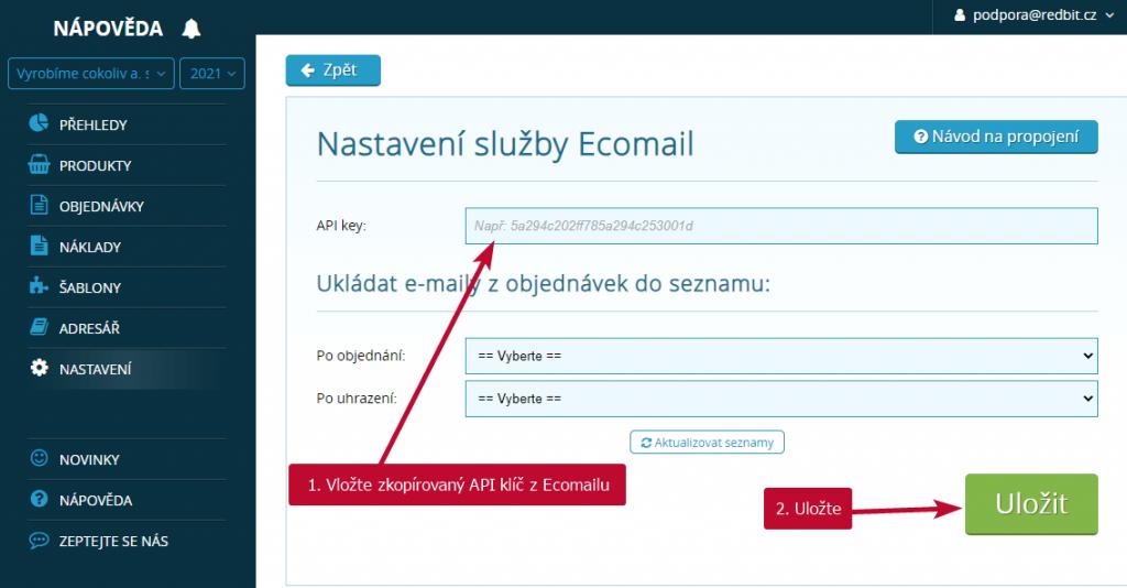 Ecomail nastavení API klíče