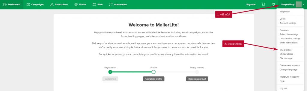MailerLite integrace