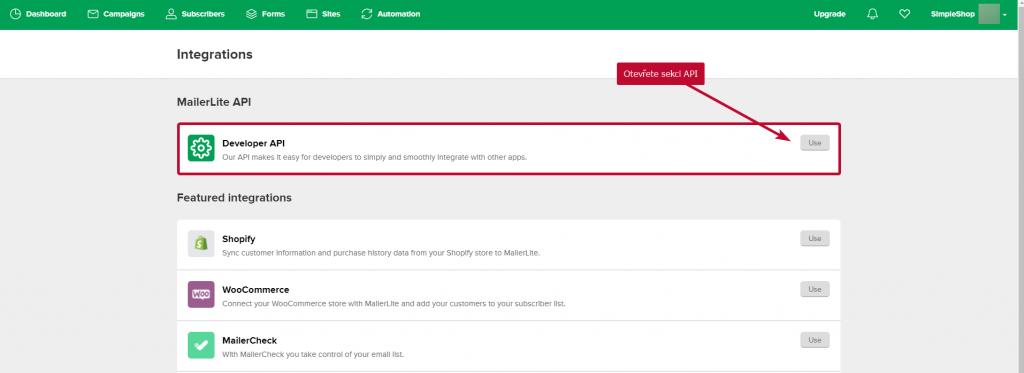 MailerLite sekce API