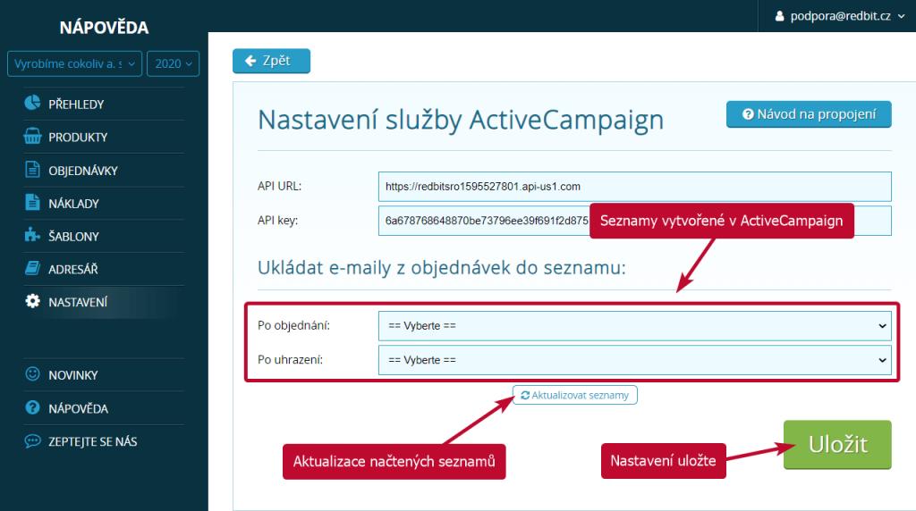 Výběr výchozích seznamů z ActiveCampaign