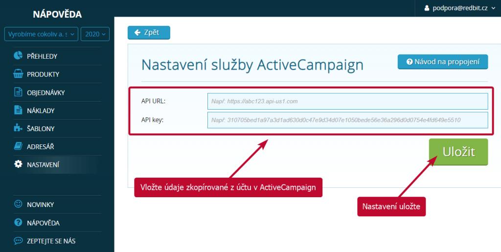 Vložení údajů z ActiveCampaign do SimpleShopu