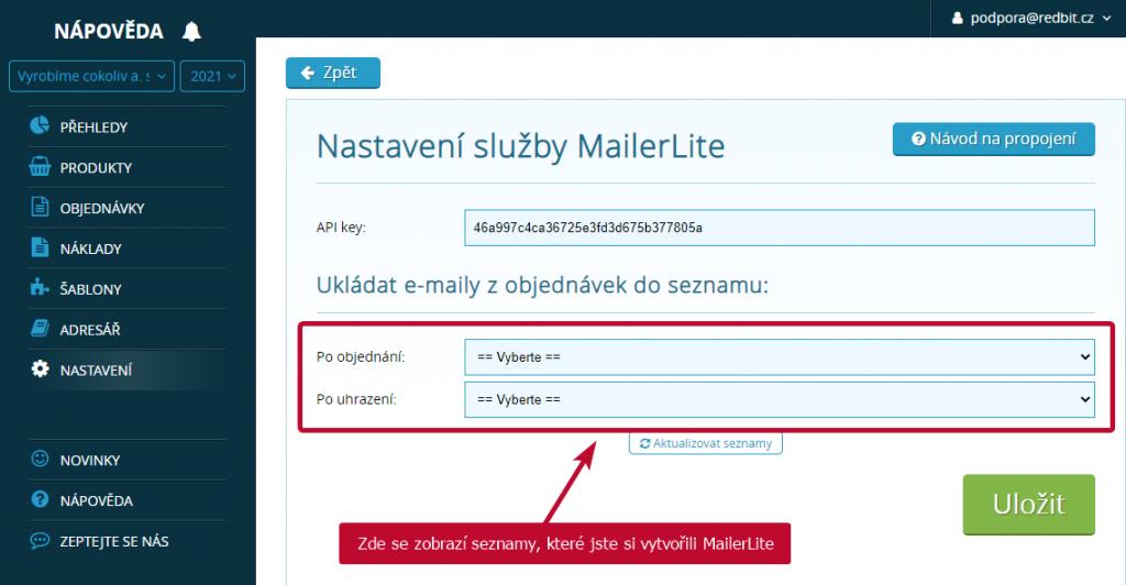 MailerLite seznamy