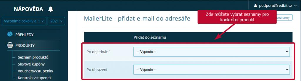 MailerLite seznamy pro konkretni produkt