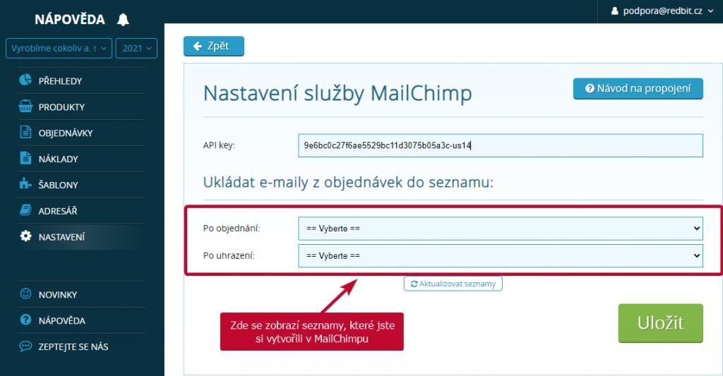 seznamy Mailchimp