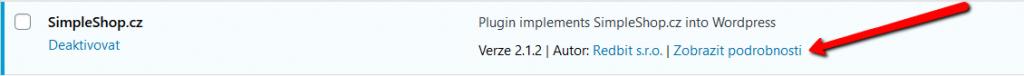 Zobrazení podrobných informací o SS pluginu