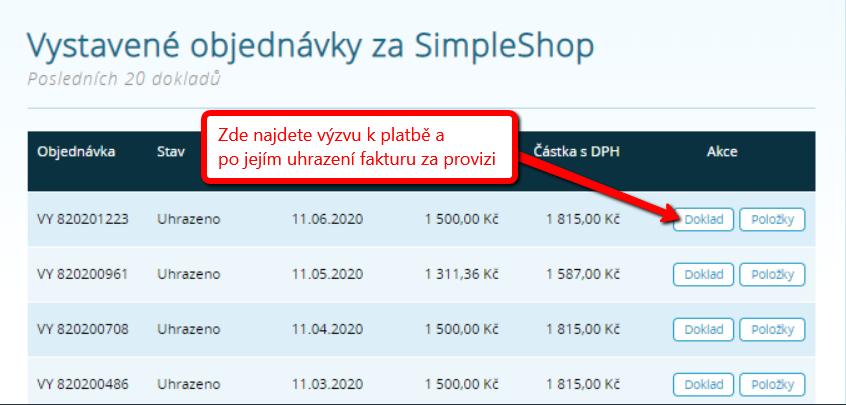 Přehled dokladů za provizi SimpleShop