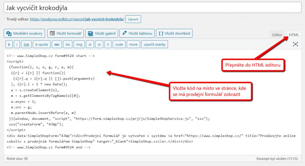 Vložení kódu prodejního formuláře na web