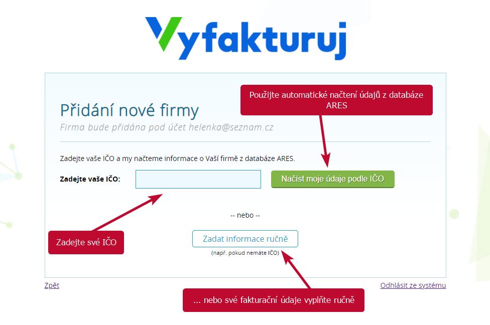 Vyfakturuj.cz - zadani nove firmy
