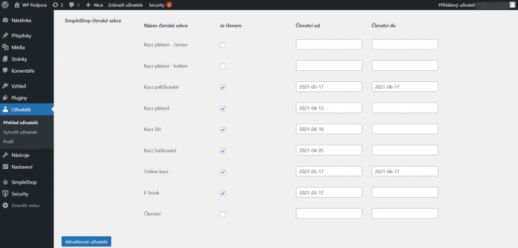 Seznam členských sekcí v profilu uživatele