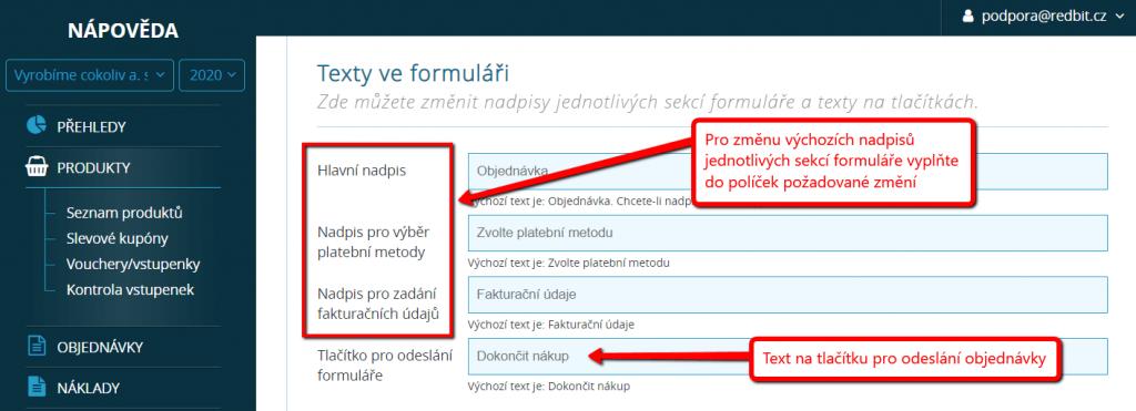 Změna textů ve formuláři