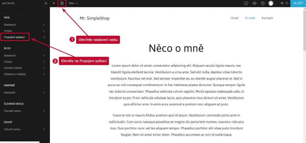 Nastavení Miowebu - propojení aplikací