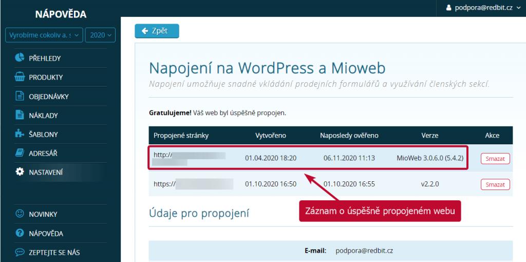 Záznam v SimpleShopu o úspěšně propojeném webu