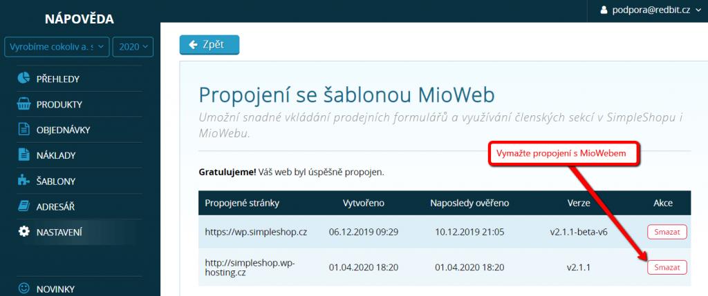 Smazání propojení s MioWebem v SimpleShopu