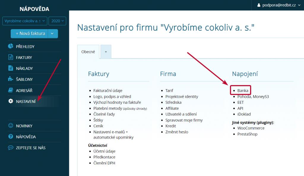 Sekce pro propojení s bankou v nastavení účtu ve Vyfakturuj.cz a SimpleShopu