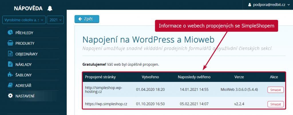 Weby propojené se SimpleShopem