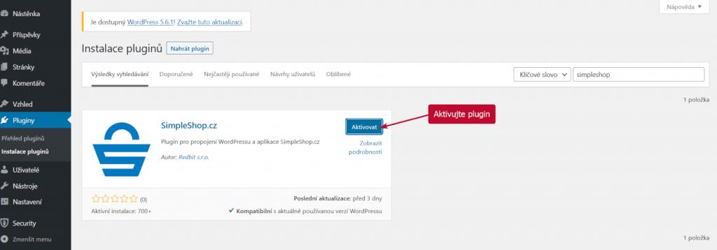 Aktivace SimpleShop pluginu