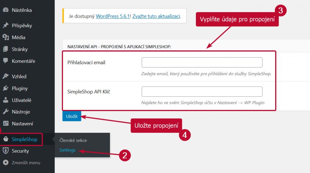 Propojení WP pluginu se SimpleShopem