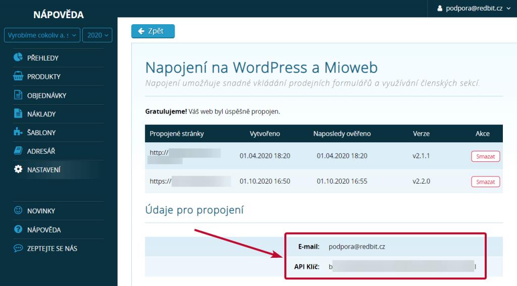 E-mail a API klíč pro propojení SimpleShopu s Miowebem