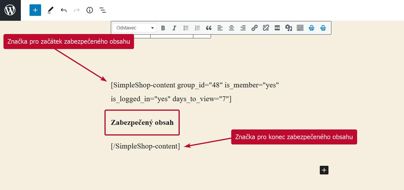 Shortkód vygenerovaný SimpleShop pluginem