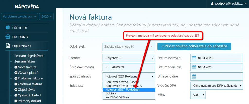 Aktivované odesílání dat u platební metody - zobrazení ve faktuře
