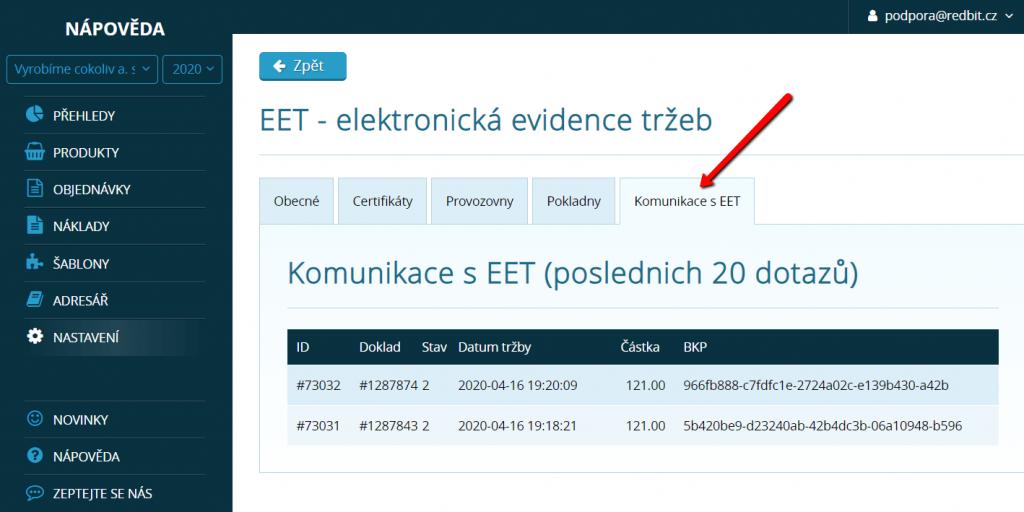 Záznamy o komunikaci se systémem EET