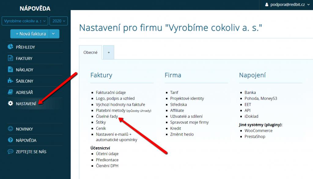Nastavení číselných řad ve Vyfakturuj.cz a SimpleShopu