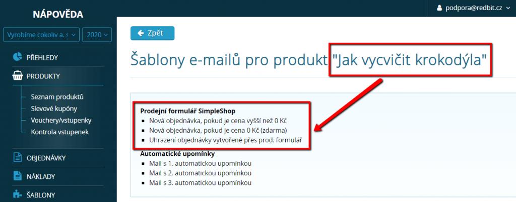 Šablony e-mailů pro vybraný produkt
