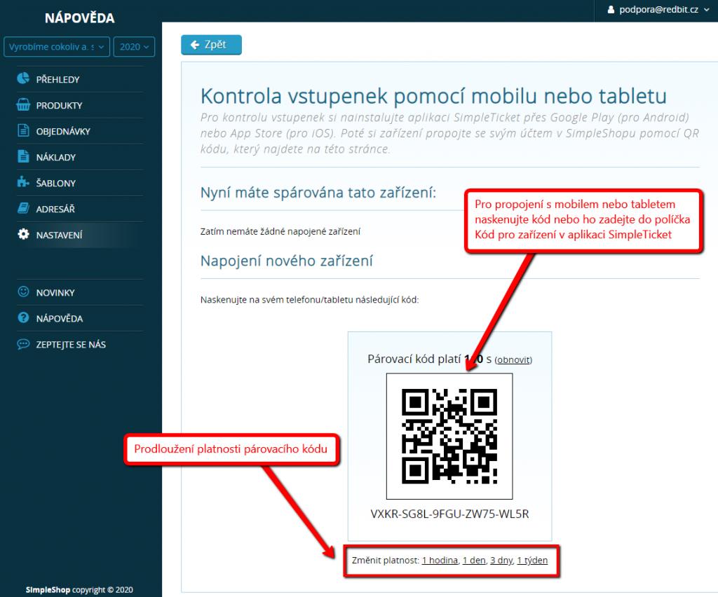 Kód pro spárování mobilního zařízení